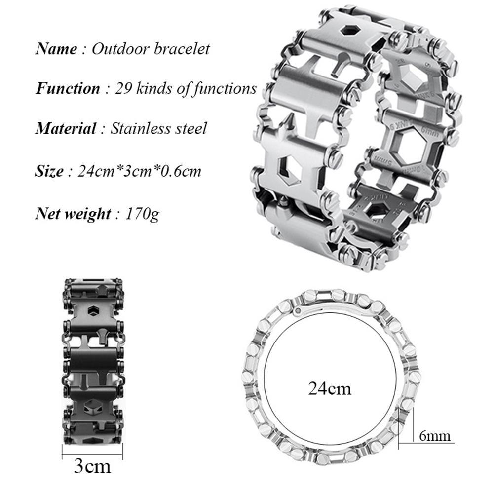 DreamBell Hommes En Plein Air Spliced Bracelet Multifonctionnel Portant outil de tournevis À La Main Chaîne Champ Survie Bracelet - 6