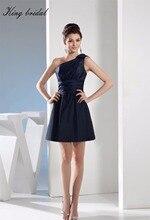 2017 Elegant Eine Schulter Navy Taft Rechteck A Line Short Brautkleider Falten Sleeveless Mini Homecoming Cocktail Kleid