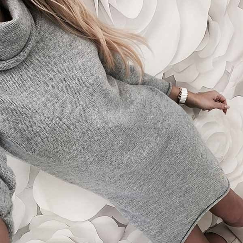 Bigsweety Knitted Dress Autumn Winter Women Turtleneck Long Sleeve Warm  Sweater Dress Casual Solid Loose Mini afb9e452b82f