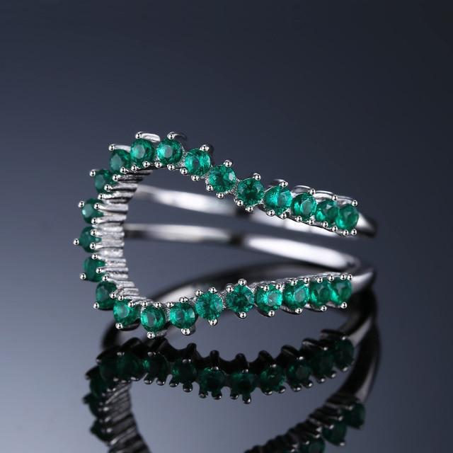 JewelryPalace 0.5ct Nano Russo Simulato Smeraldo Anello Aperto Anello Dell'argento Sterlina 925 di Fidanzamento Fascia di Cerimonia Nuziale di Nuovo Arrivo del Regalo