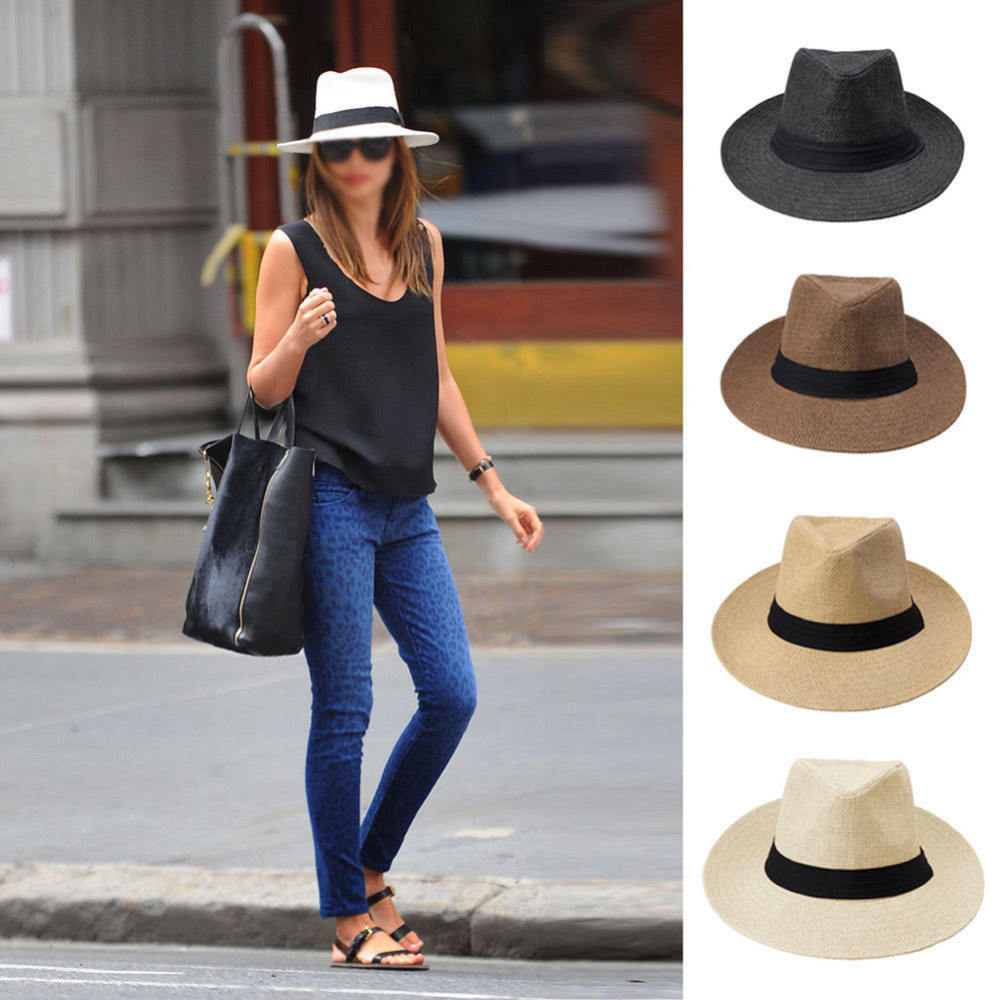 Men Women Fedora Wide Brim Black ribbon patchwork Straw hat Trilby Cap  Panama Unisex Summer Beach Sun Hat chapeu feminino Y1-in Sun Hats from  Apparel ... 7daa0944852