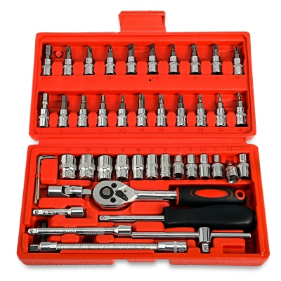 46pcs 1/4-Inch Socket Ratchet Wrench Combo Tools Kit for Car Repairing