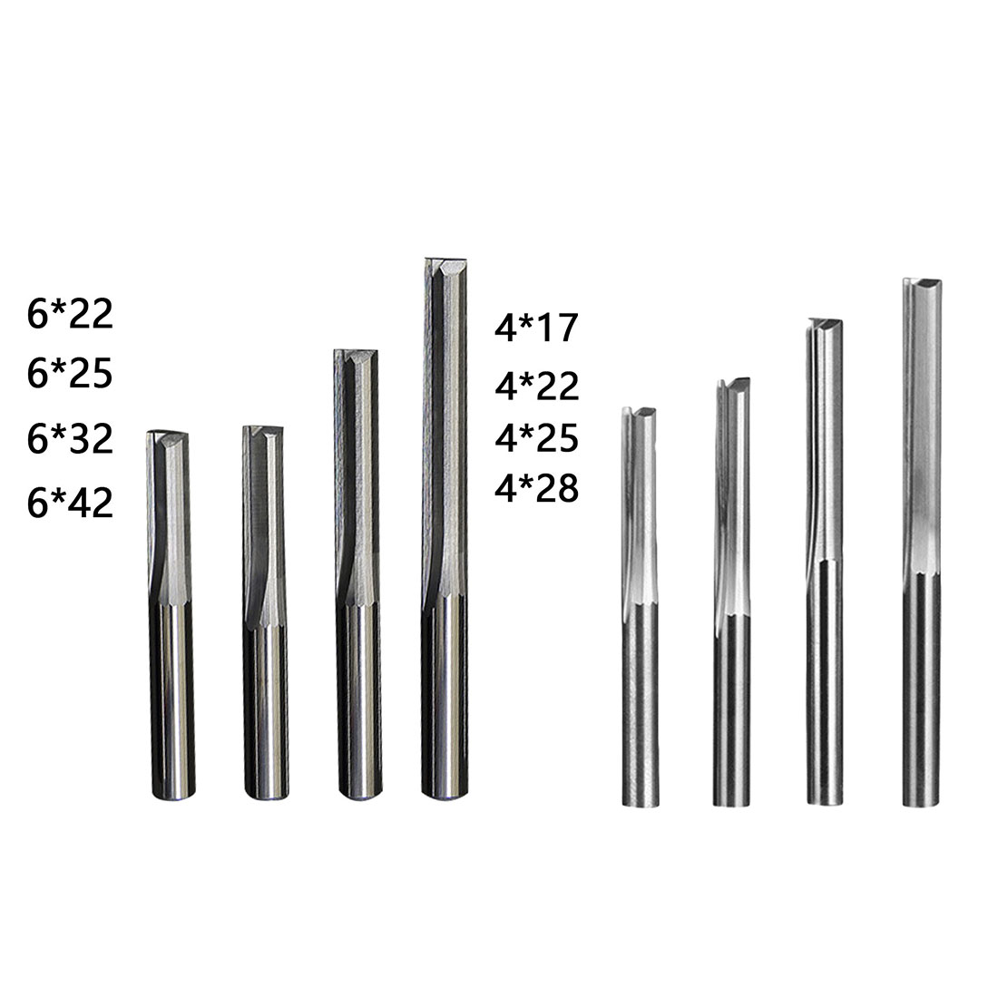 6mm/4mm Shank Two Flutes Straight Router Bits For Wood CNC Straight Engraving Cutters End Mill Tools Milling Cutter