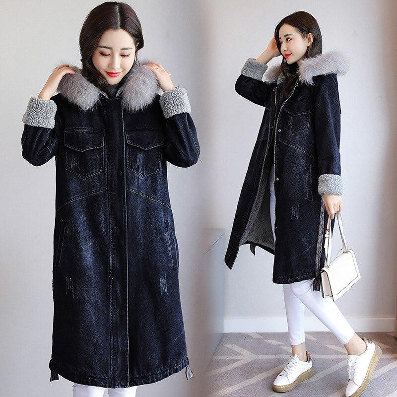Plus la taille longue Denim Vestes Femmes D'agneau Parkas Boyfriend Style Épaississement Coton Vintage Jean veste Lâche D'hiver Denim Manteau