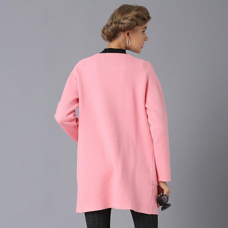 Point 13609 rouge Solide Nouvelle Tricot blanc 2017 O Rose Veste rose Ouvrir kaki Surdimensionné Blanc Manteau cou Chandail gris Femelle Cardigans Noir Femmes Long CXBTqFwp