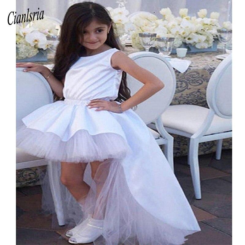 Haute basse Tulle Satin robe de demoiselle d'honneur avec grand nœud v-back bijoux cou filles robes de reconstitution historique belle robe de fête d'anniversaire sur mesure