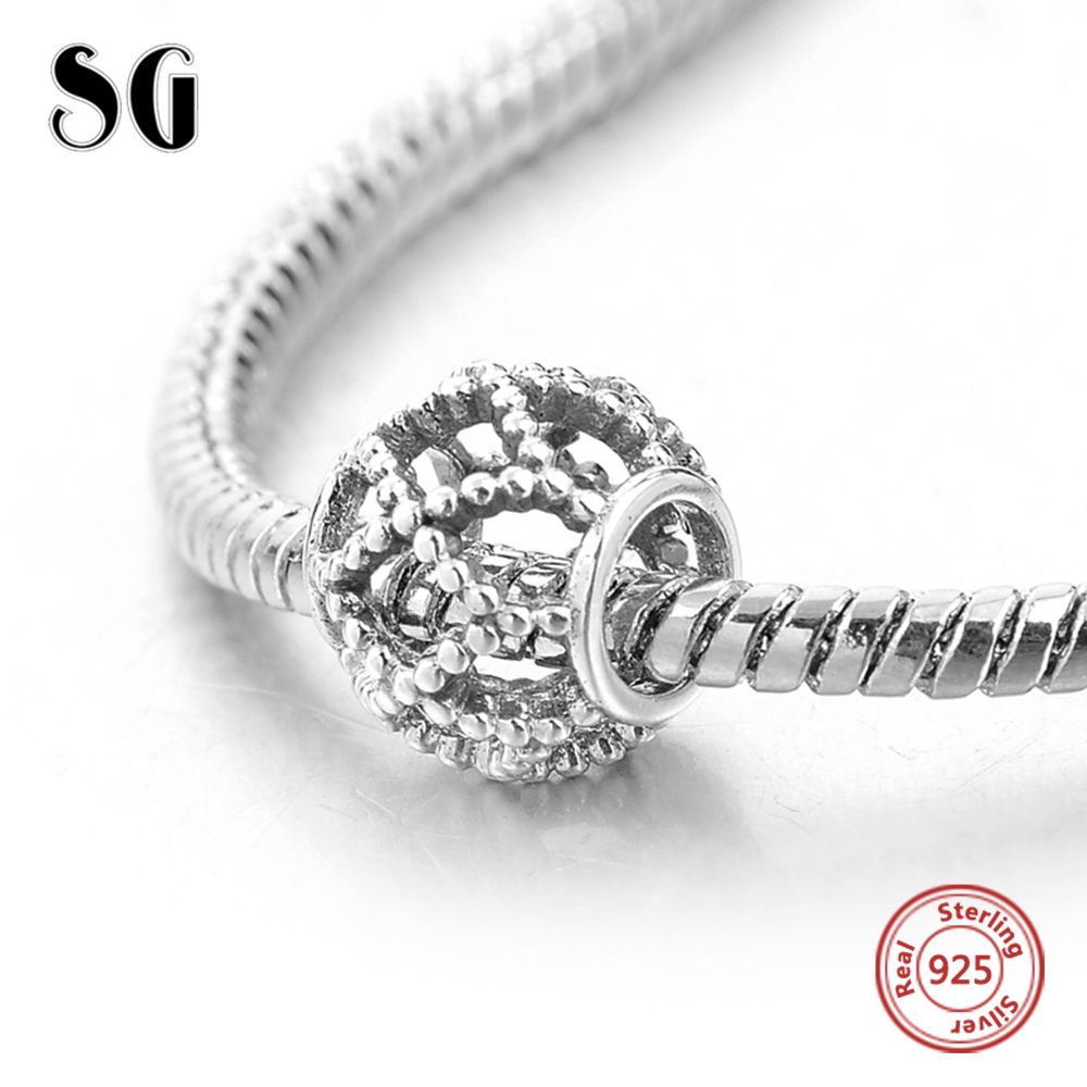Silver Galaxy Hollow Out Round Beads Genuine Fit Pandora Charms Bracelets for Women DIY Accessories 925 Sterling Silver Jewelry