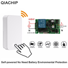 QIACHIP Self powered 433 Mhz Draadloze Smart Afstandsbediening AC 220 V 1CH Wireless Power RF Relais Lichtschakelaar zender Ontvanger