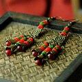 Длинные висячие этнические серьги для женщин бронзовый цветочный зеленый натуральный камень красный агат геометрическая падения крюк femme ювелирные изделия