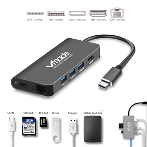 Image 3 - Vmade 8 in1 USB Type C 3.1 HUB for Type C to 3 USB 3.0 / 4K HDMI / RJ45 Ethernet / Micro SD TF Card Reader / USB Hubs Type C OTG