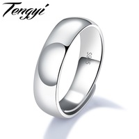 TENGYI 925 Sterling Silver Men Ring Simple Design Silver Color 4 6 5 8 6 7mm