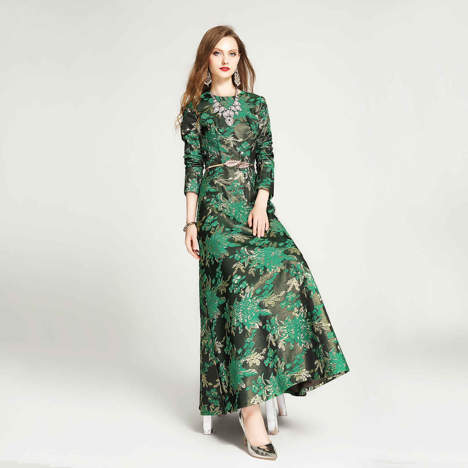 2019 New Spring And Autumn Women's Green Floral Jacquard