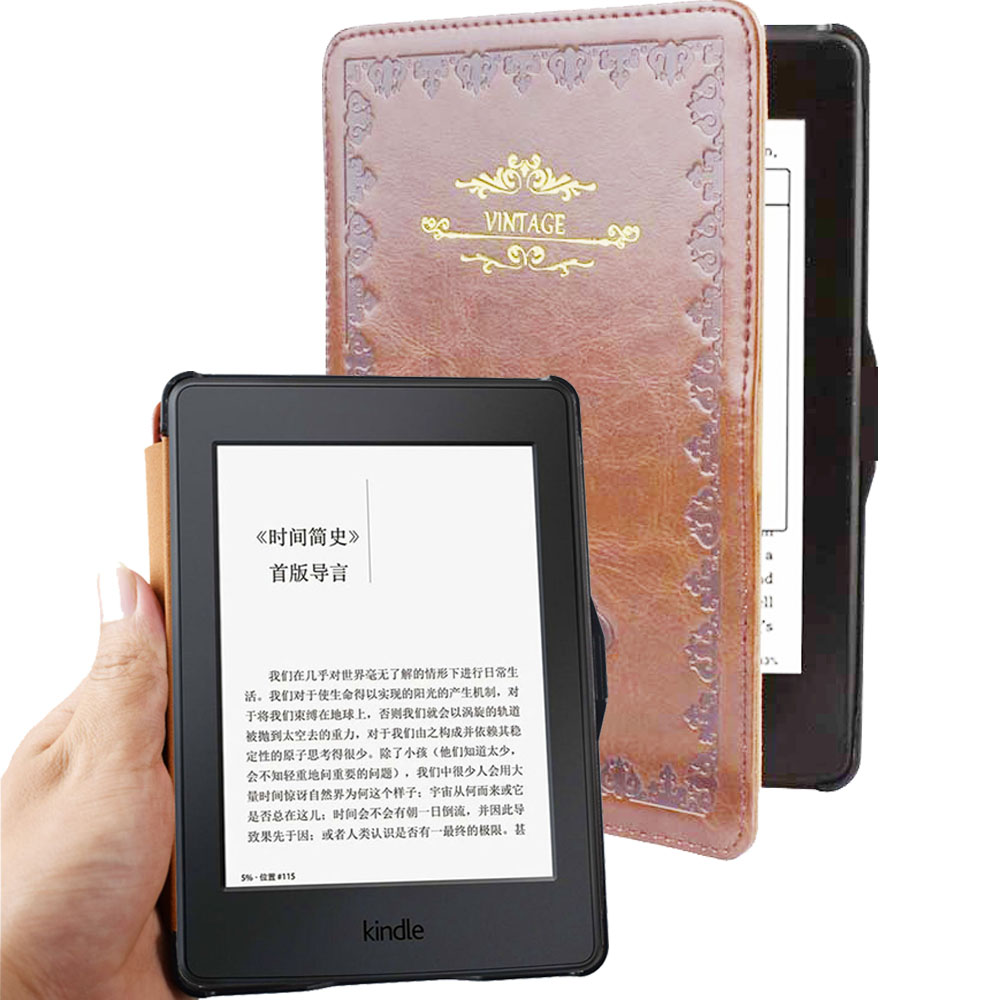 Para kindle paperwhite case couro inteligente estilo Vintage capa do livro para amazon kindle paperwhite1 2 3 2015 2013 2012 flip case