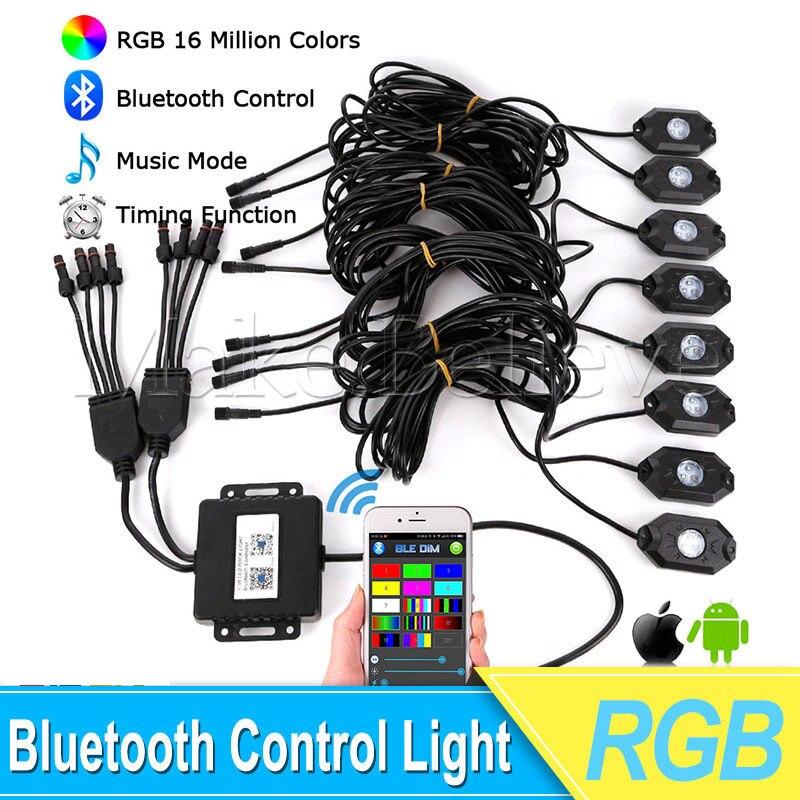 8х стручок СИД RGB рок-огни беспроводной 8pods Bluetooth контроллер RGB светодиодные фонари украшают рок легкая музыка мигающий многоцветный