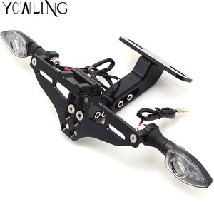 Image 2 - Motorcycle Adjustable Folding License Plate Holder Tail Rear Light Bracket Mount Support YZF R3 R6 YZFR6 YZFR3 YZF R6 2005 2016