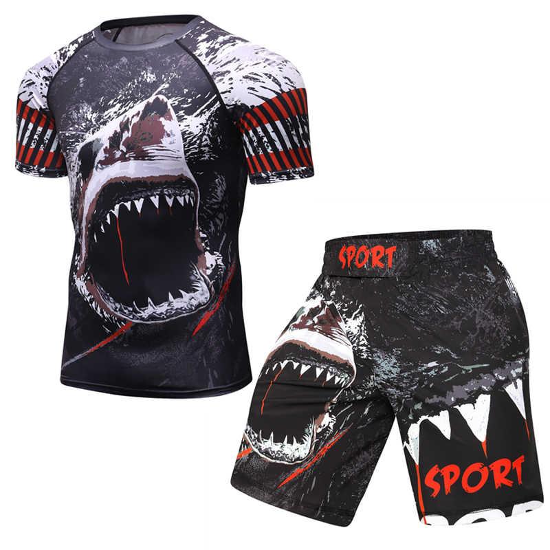 Camisa de compressão dos homens camisa de fitness halterofilismo mma rashguard esporte terno