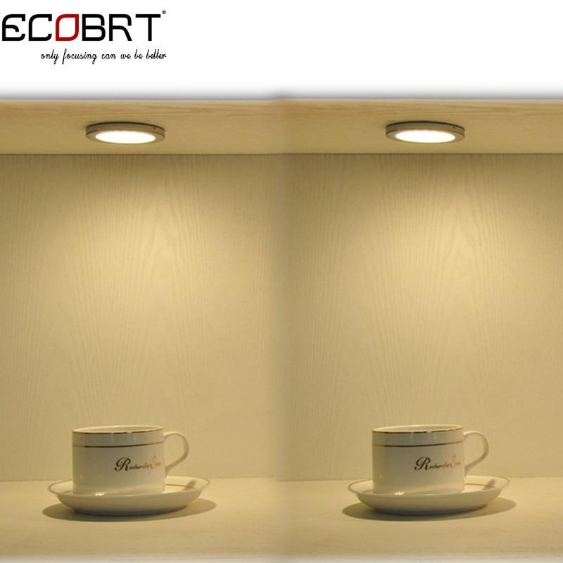 Купить с кэшбэком New smd3528 aluminum 12v Led Round Surface Puck lights in Showcase as Under Cabinet Spotlights Lamps 2w 6pcs/lot