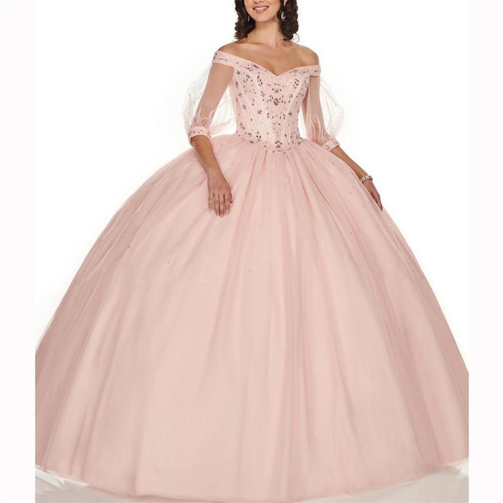 Vestido Ball Gown Robe De Baln Sweet 16 Dress V-neck Half Sleevves Beading Tullle Vestidos De 15 Anos Quinceanera 2019