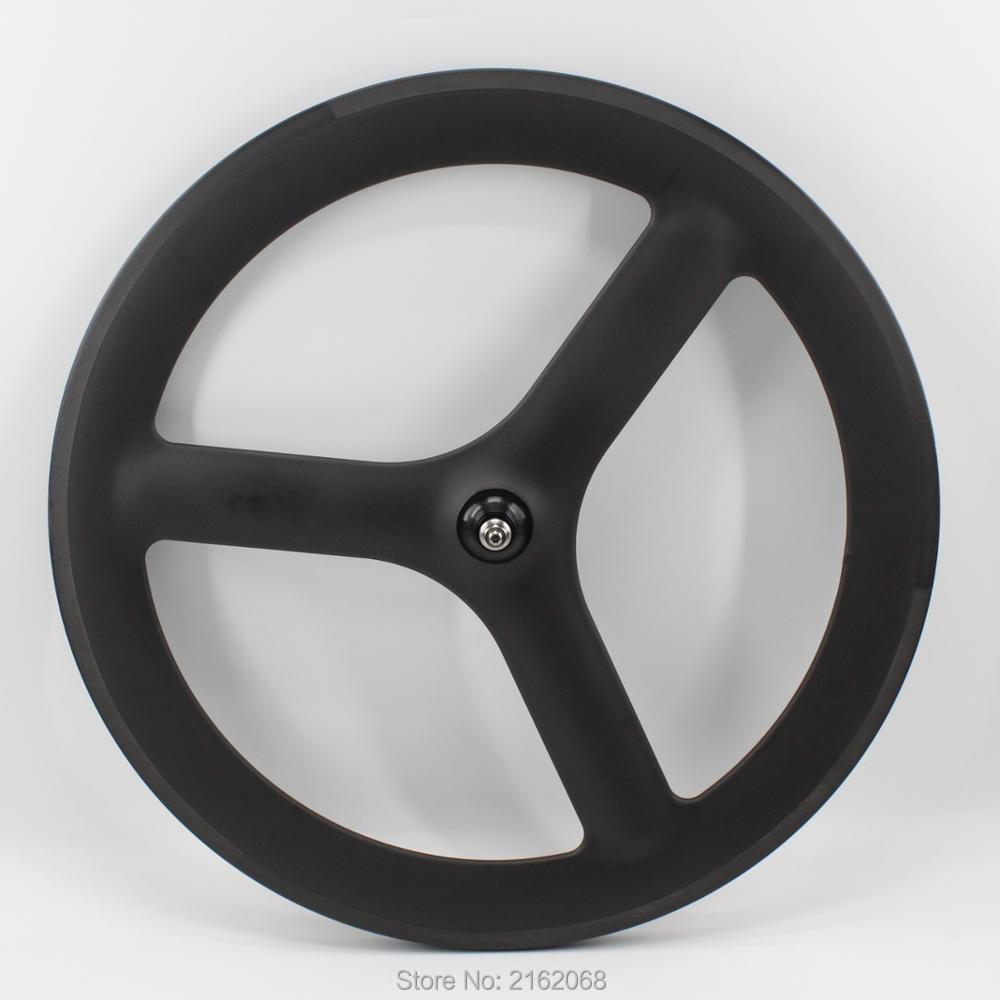 New 700C Fixed Gear Track Road bike 3 spokes and tubular rim integrated matt UD full carbon bicycle wheelsets with hub Free ship 1set front and rear 700c road bike wheel bicycle magnesium alloy three spokes parts integrated wheel fixed gear single speed