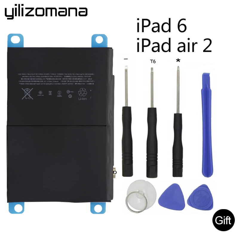 YILIZOMANA Original Tablet Battery For iPad 6 Air 2 7340mAh Original Replacement Battery For ipad 6 Air 2 A1566 A1567 Tools