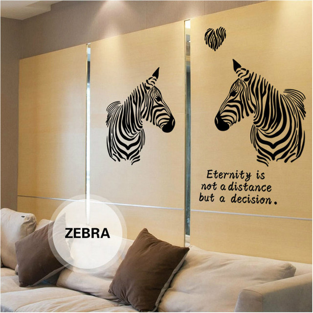 Pvc Plane Wall Sticker Love Zebra Silhouette Pattern Stikers For ...