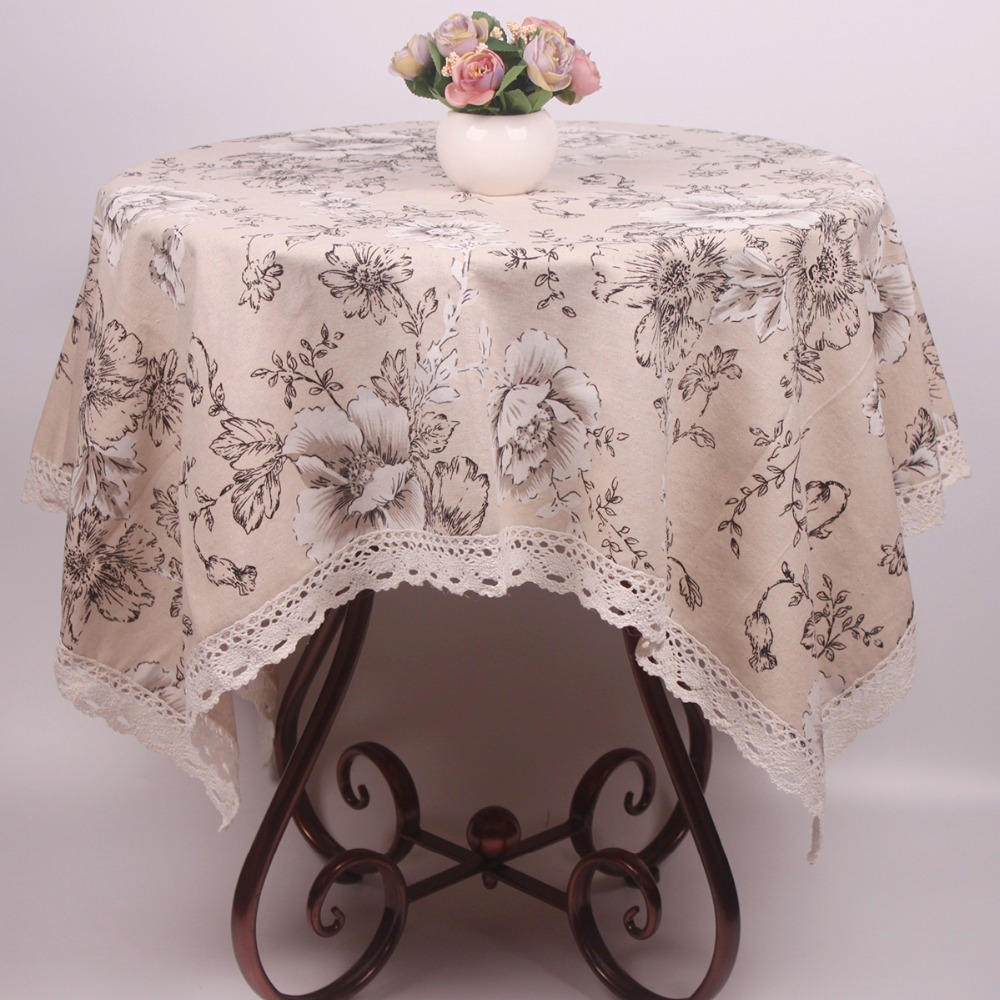 Durable Beige Cotton Linen Table Cloth Peony Floral Printed Dustproof Table  Covers For Furnitures Household Applicances