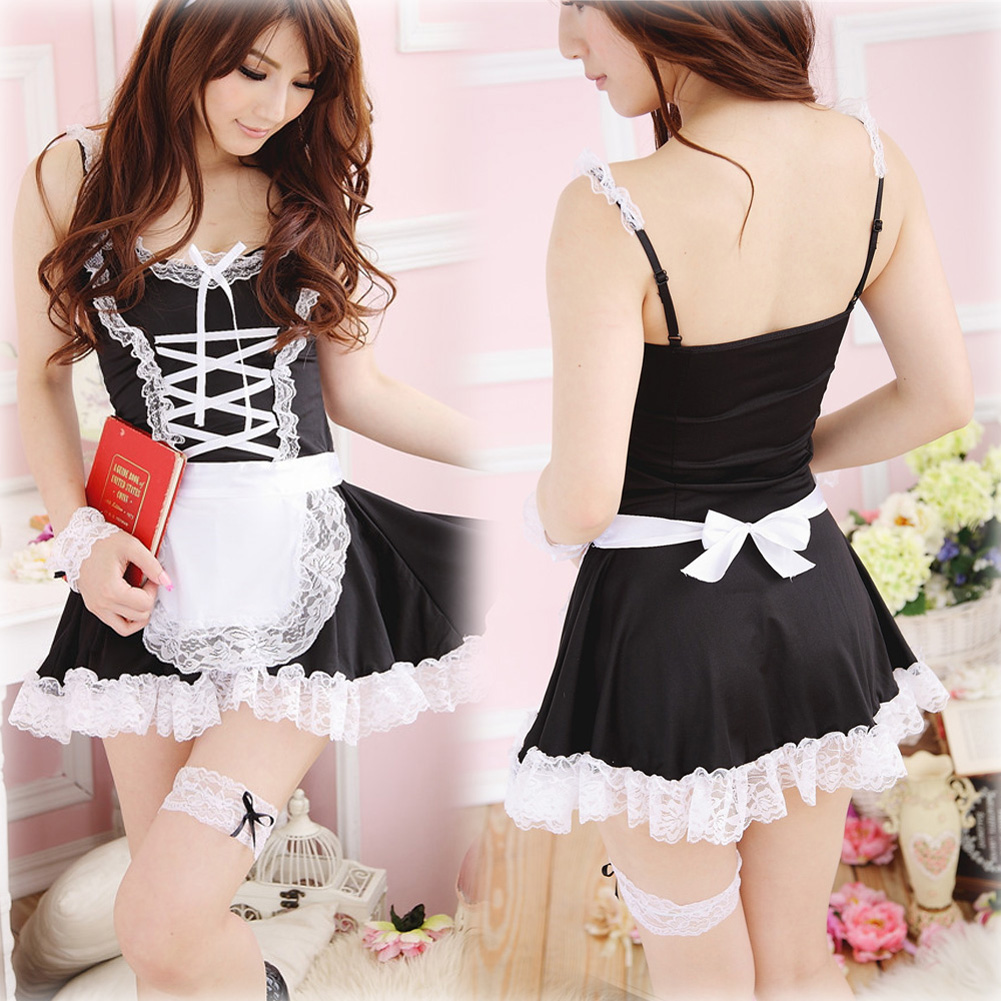 White apron cheap - Hot Sexy Lingerie Black White Apron Maid Servant Lolita Costume Dress Uniform Lb China
