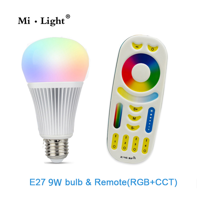 AC85-265V 2.4G Wireless E27 9W RGBWW+ Color Temperature Dimmable 2 in 1 Smart MiLight LED Bulb RGB and CCT 2 4g milight e27 9w wireless smart cw wwled lamp bulb 2 4g rf cct dim remote control for good reputation