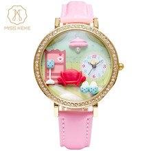 Miss Keke New Clay Cute 3d Mini World My Secret Room Rhinestone Watches Relogio Feminino Ladies Women Leather Wristwatches 1013