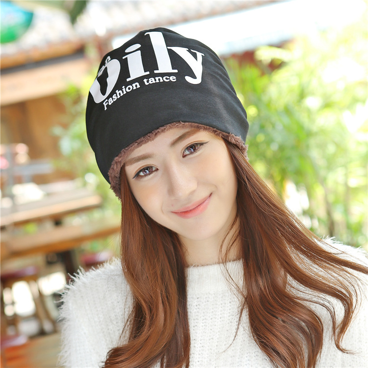 Autumn And Winter With Cashmere Scarf Letter Hat L...