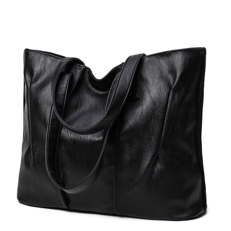 2018 New Simple style Soft Leather Shoulder Bag Fashion Women Designer Large Capacity Handbags Female High Quality Big Bags new arrival luxury handbags women bags designer fashion wedding brideshandbag 2017 big female bag leather solid high quality red