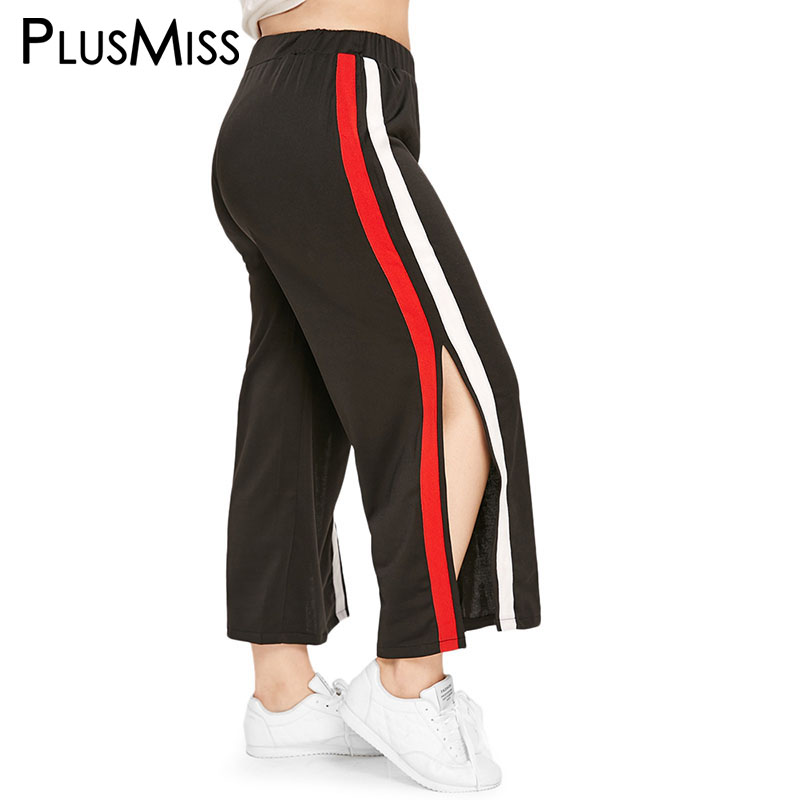 PlusMiss Plus Size XXXL XXL Striped Side Split Wide Leg   Pant   Women High Waist Hip Hop Dance   Pants     Capri   Big Size Trousers Ladies