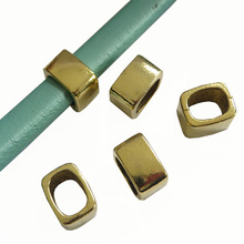 10pcs Antique Gold Square High Quality Silde Spacer Fit 10*6mm Licorice Leather Cord(China)