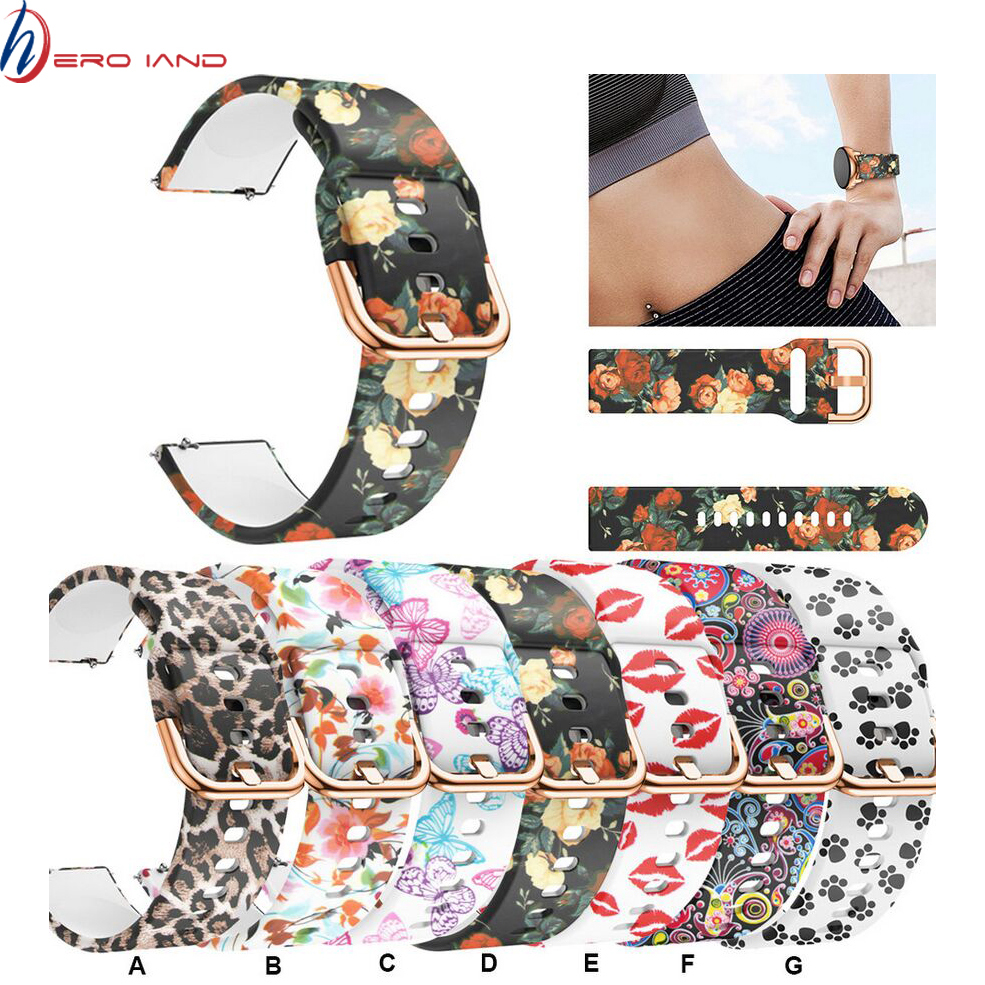 20mm Watch Strap For Samsung Galaxy Watch Active Soft Sports Silicone Replacement Band Bracelet Wristband For Amazfit Bip Correa