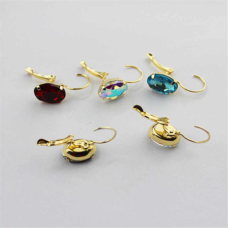 ססגוניות החדשה מדהים נובל נשים תכשיטים סיטונאי זכוכית אבנים פופולרי ילדה מסיבת יום הולדת אוזן וו עגילי משלוח shippi