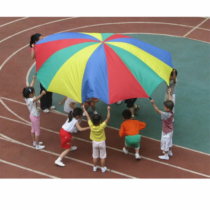 1m 2m 3m 5m Play Rainbow Parachute Toys Sport Games Outdoor Fun Sports Teamwork Cooperative Jump-sack Toys Development Umbrella ...