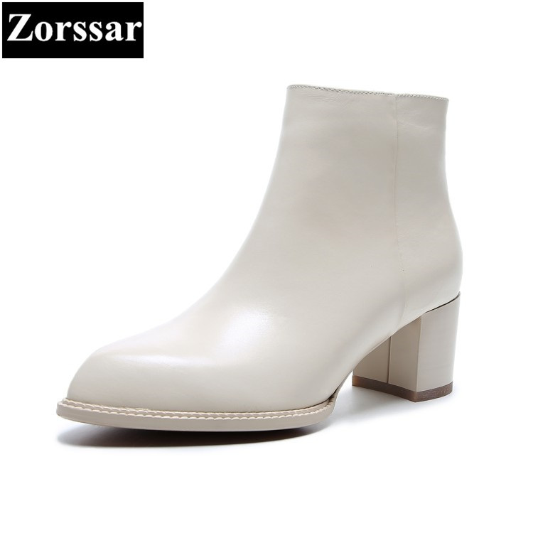{Zorssar} 2018 NEW Fashion Women Boots High heels pointed Toe Thick Heel ankle equestrian boots large size womens shoes winter zorssar brands 2018 new arrival fashion women shoes thick heel zipper ankle chelsea boots square toe high heels womens boots