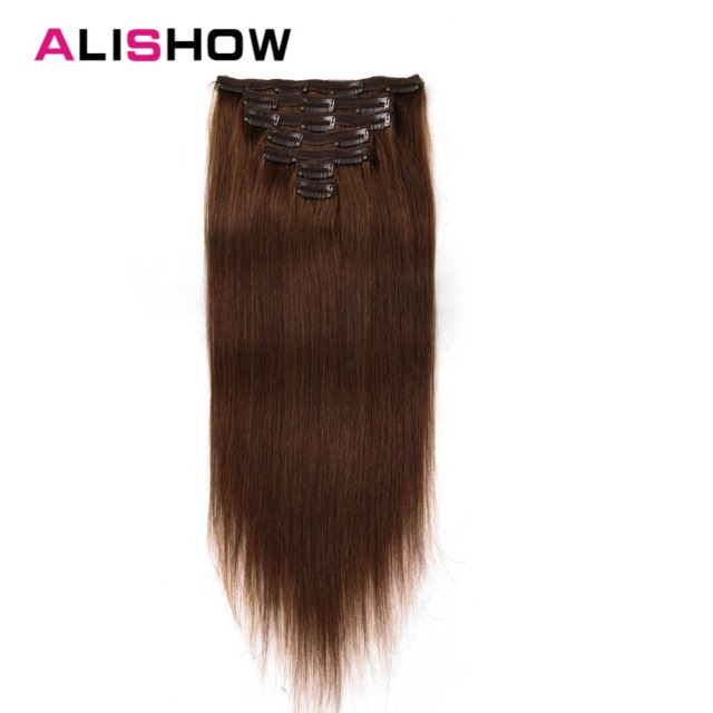 Alishow Clip In Human Hair Extensions 100g 14 24 Full Head Set