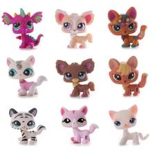 Juguete Original de la tienda de mascotas Lps raro gato corto Rosa unicornio zorro grande orejeras Lps juguete figura de acción de pie regalo clásico cosplay