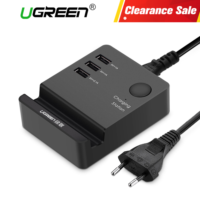 Ugreen 3 Ports phone charger Desktop USB Charger Portable Tarvel EU Plug Wall Charger Adapter for iPhone 6 Mobile laptop Charger