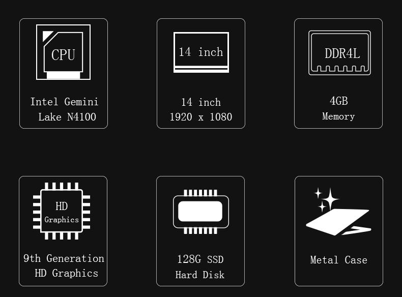 Jumper EZbook X4 laptop 14 1080P Metal Case notebook Gemini lake N4100 4GB 128GB SSD ultrabook backlit keyboard Dual Band Wifi (2)