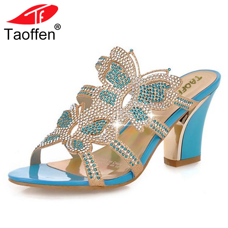 TAOFFEN Women Leisure Thick Heel Sandals Rhinestone Sandals Sexy Patch Slides Causal/Dating Women Flip-flops Women Shoes 34-43
