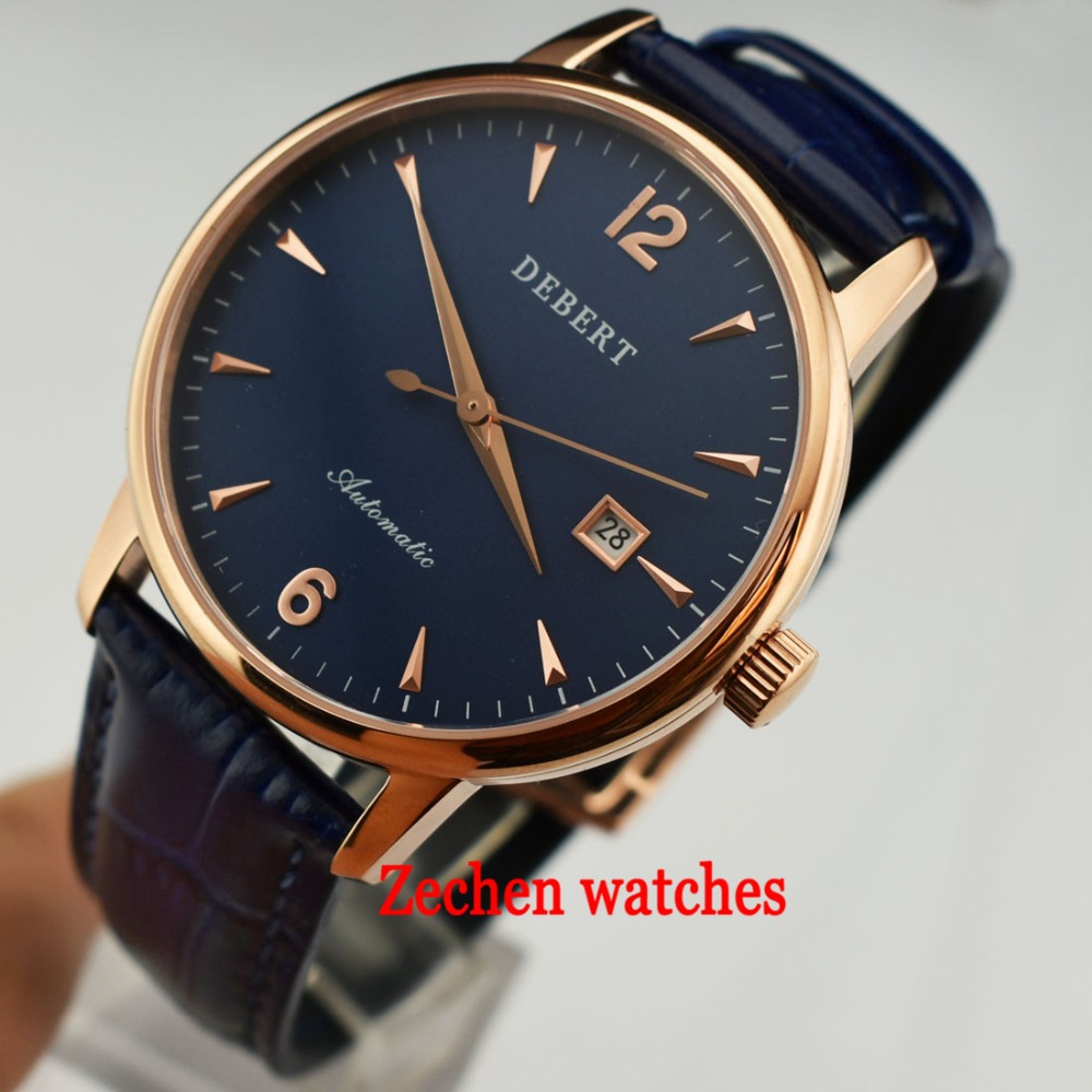 цены Debert 40mm Rose Gold Case MIYOTA 8215 Blue Dial Sapphire Automatic Watch 316L Stainless Steel Case