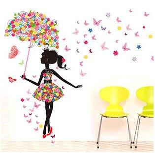 Moda Moderno Muchacha De La Mariposa Etiqueta De La Pared Creativos