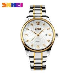 Image 2 - SKMEI Fashion Mens Watches Top Brand Luxury Business Watch Men Stainless Steel Strap Quartz Wristwatches Relogio Masculino 9101
