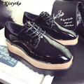 Kjstyrka 2017 Patent Leather Women Oxfords Platform Shoes Woman Creepers Flats Casual Lace-Up Brogue Shoes