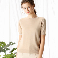 ATTYYWS Fashion Slim Round Neck Short Sleeve Women Cashmere Sweater Computer Knit Pullover Spring Summer New Women Short 2019