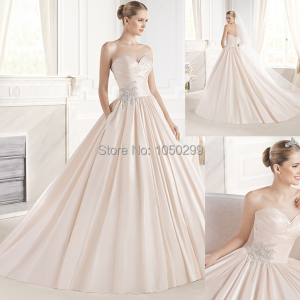 Elegant Sweetheart Ruched Top Blush Pink Ball Gown Chapel Train Wedding Dresses Satin Bridal Gowns