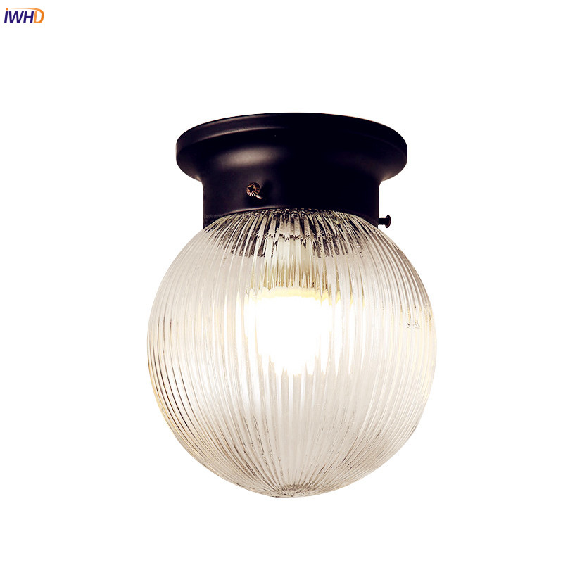 IWHD Glass Retro Vintage LED Ceiling Light Fxitures Flafonnier Hallway Balcony Ceiling Lamp Home Lighting Plafon 3w