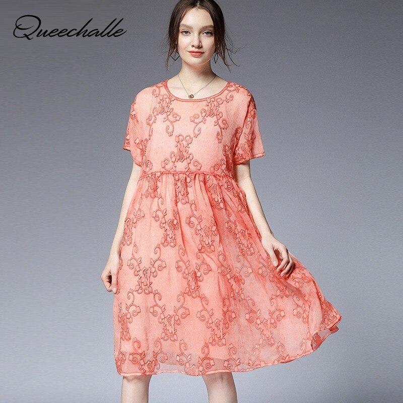 Ensemble deux pièces en mousseline de soie robe été 2019 mode broderie lâche a-ligne robe femmes 3XL 4XL robe de grande taille robes Orange rose